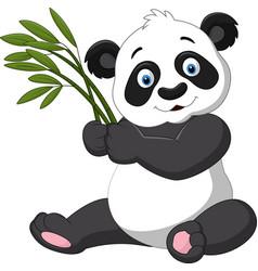 Cute panda holding bamboo vector
