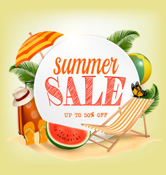 Summer sale template banner with colorful beach vector