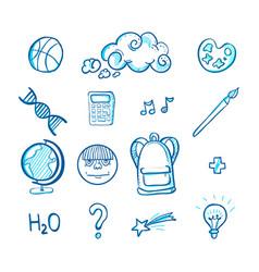 School doodle icon set vector