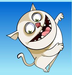 Cartoon character cheerful funny chubby cat vector