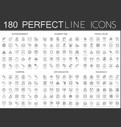 180 modern thin line icons set of entertainment vector