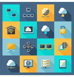 Network icons flat vector