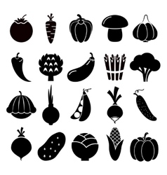 Vegetables silhouettes icons vector