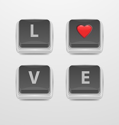 Button love icon vector