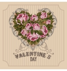 Vintage valentines day greeting card with roses vector