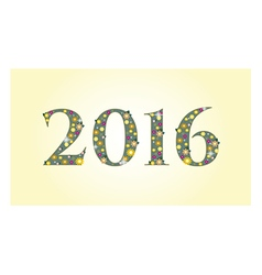 New year 2016 text design with flowers vector