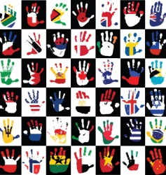 Flags in the hands of kids vector