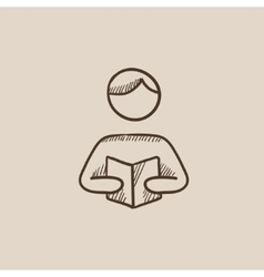 Man reading book sketch icon vector