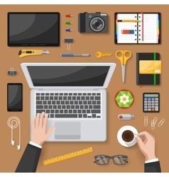 Office desk top view design vector