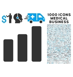 Bar Chart Increase Icon with 1000 Medical Business vector image vector image