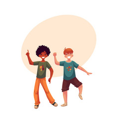 Black and caucasian boys kids having fun dancing vector