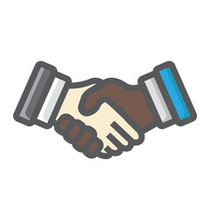 Business handshake colorful line icon contract vector
