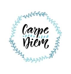Carpe diem handwritten latin quote modern vector