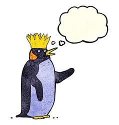 Cartoon emperor penguin waving with thought bubble vector