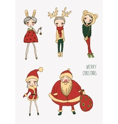 christmas funny girls set vector image