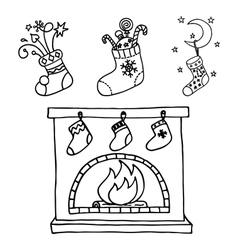 Christmas stockings set vector