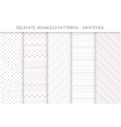 Collection of seamless delicate patterns soft vector