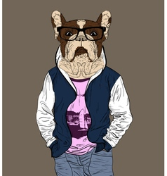 Fashion man with the head of french bulldog vector