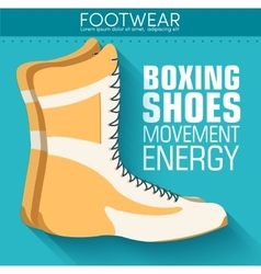 Flat sport boxing shoes background concept vector