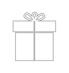 Gift sign black dotted icon on white vector