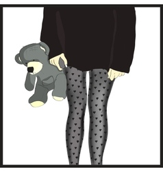 Girls in tights with gray bear in hand vector