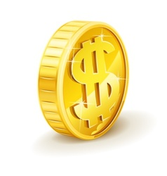 gold coin with dollar sign vector image vector image