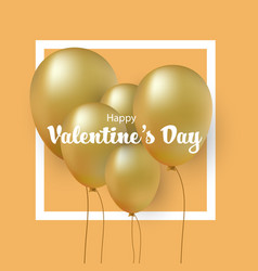 group of gold balloons valentines day card vector image vector image