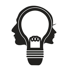 human head lightbulb vector image