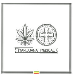 Medical marijuana logo black three vector