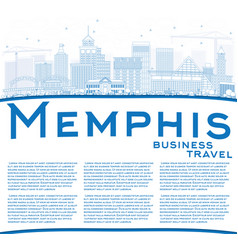 outline memphis skyline with blue buildings and vector image