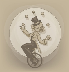 Pinup equilibrist juggling balls vector image vector image