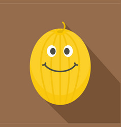 Ripe yellow smiling melon icon flat style vector