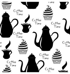 Seamless of coffee time with coffee pot vector