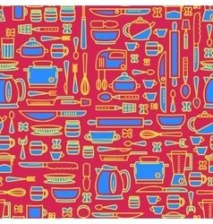 Seamless pattern featuring various kitchen vector image