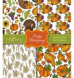 Set of seamless thanksgiving patterns vector