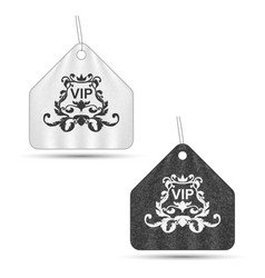Set of two elegant vip labels with ornament gray vector