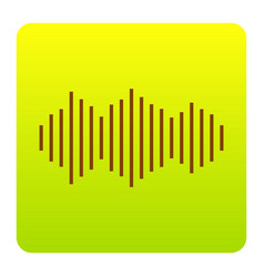 sound waves icon brown icon at green vector image vector image