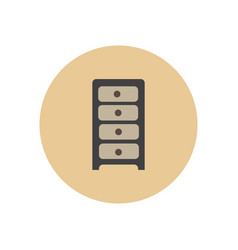 Stylish icon in circle office chest of drawers vector