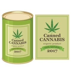 Tin can canned hemp and cannabis leaf vector
