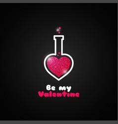 Valentines day love potion logo on black vector