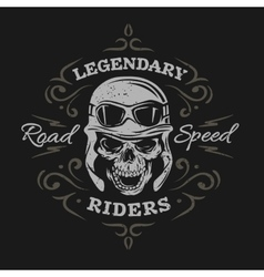 Vintage biker skull on a dark background vector