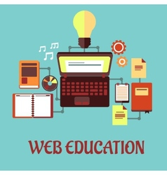 Web education flat concept vector image