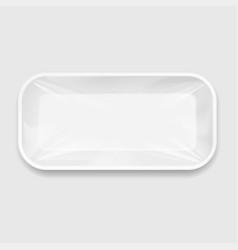 White styrofoam food tray pack vector