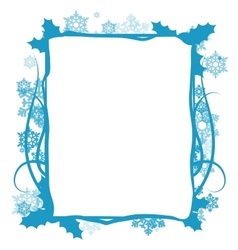 Winter floral frame vector image vector image