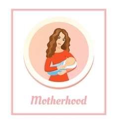 Young beautiful mother holding sleeping baby love vector
