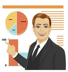 Young businessman standing next to flip chart vector