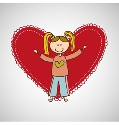 Child with heart icon vector