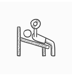 Man lifting barbell sketch icon vector