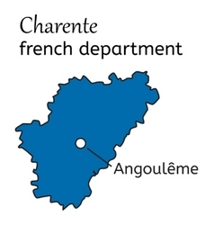 Charente french department map vector