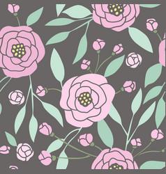 dark seamless pattern with pink peonies vector image